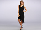Adrianna Papell Sleeveless Sheath Dress w/ Asymmetric Hem Vertical Ruffle Detail (Black)