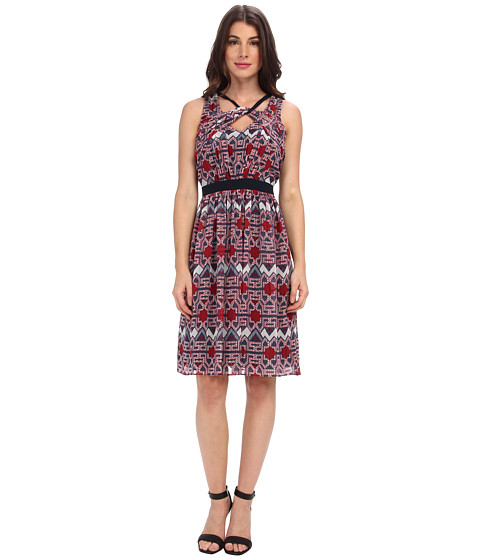 Adrianna Papell - Sleeveless Dress w/ Tribal Geo Motif Twist Detail (Blue Multi) Women's Dress
