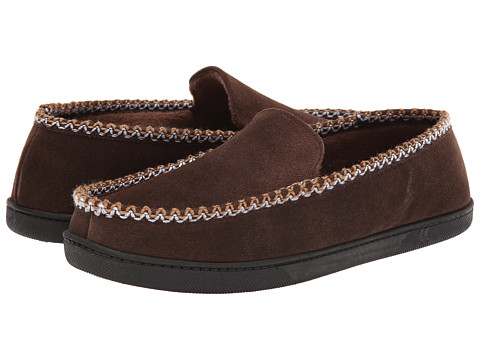 ISOTONER Signature - Suede Braided Moc (Chocolate) Men's Slippers