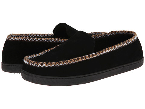 ISOTONER Signature - Suede Braided Moc (Black) Men's Slippers