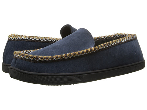 ISOTONER Signature - Suede Braided Moc (Navy) Men's Slippers