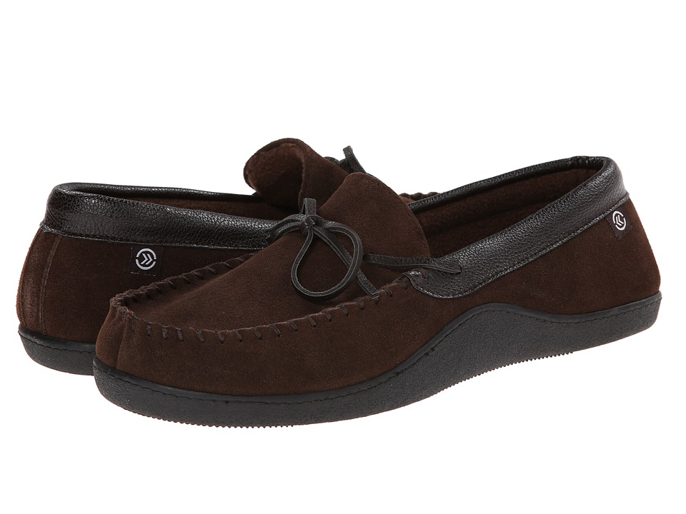 ISOTONER Signature - Suede Boater Moc (Chocolate) Men's Slippers