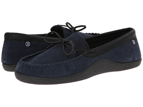ISOTONER Signature - Suede Boater Moc (Navy) Men's Slippers