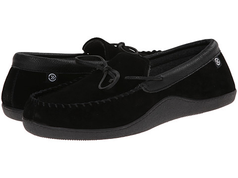 ISOTONER Signature - Suede Boater Moc (Black) Men's Slippers