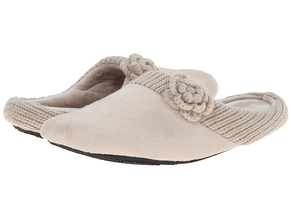 ISOTONER Signature - Clara Hoodback with Flower (Stone) Women's Slippers