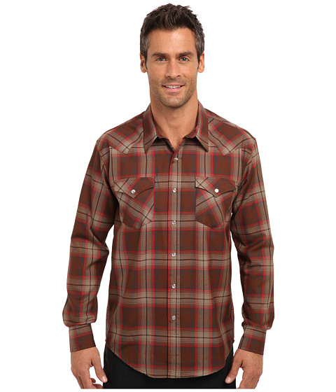 Pendleton - L/S Fitted Epic Shirt (Brown/Red/Plaid) Men's Long Sleeve Button Up