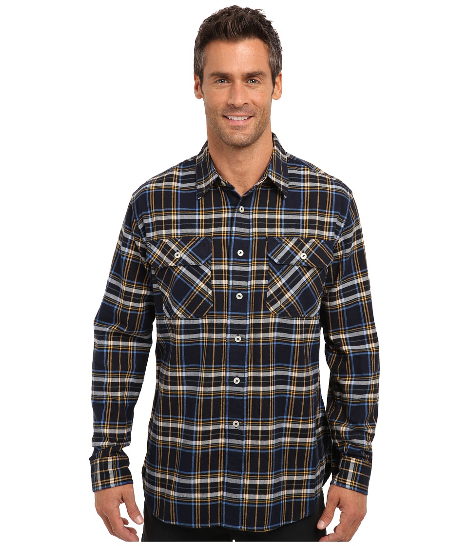 Pendleton - L/S Burnside Flannel Shirt (Navy Plaid) Men's Long Sleeve Button Up