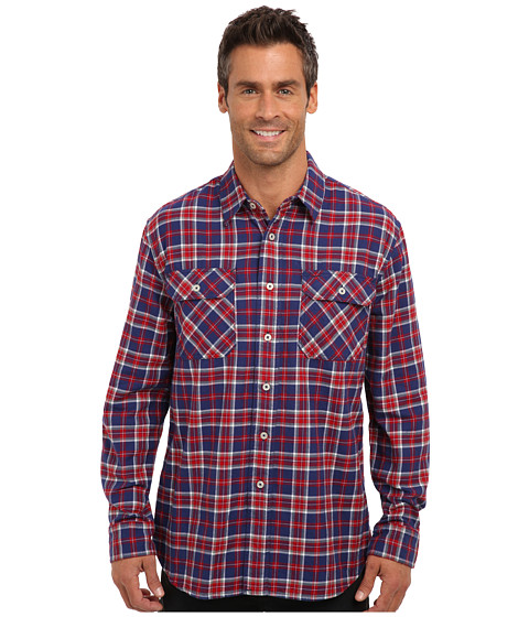 Pendleton - L/S Burnside Flannel Shirt (Blue/Red Plaid) Men's Long Sleeve Button Up