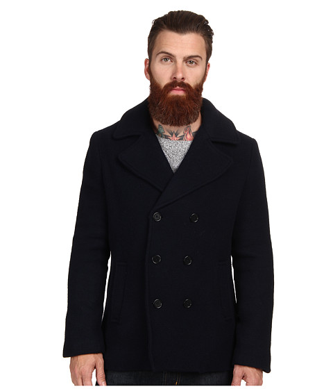 Gant Rugger - R. Scruffy Pea Coat (Navy) Men's Coat