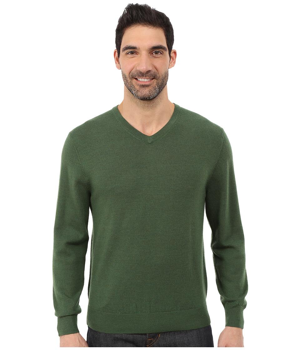 Pendleton - L/S Merino Vee Neck Sweater (Rainforest) Men's Sweater