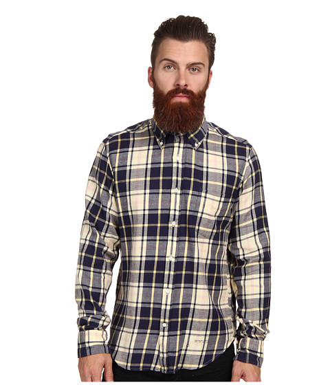 Gant Rugger - R. Windblown Flannel E-Z Original Button Down (Storm Blue) Men's Long Sleeve Button Up