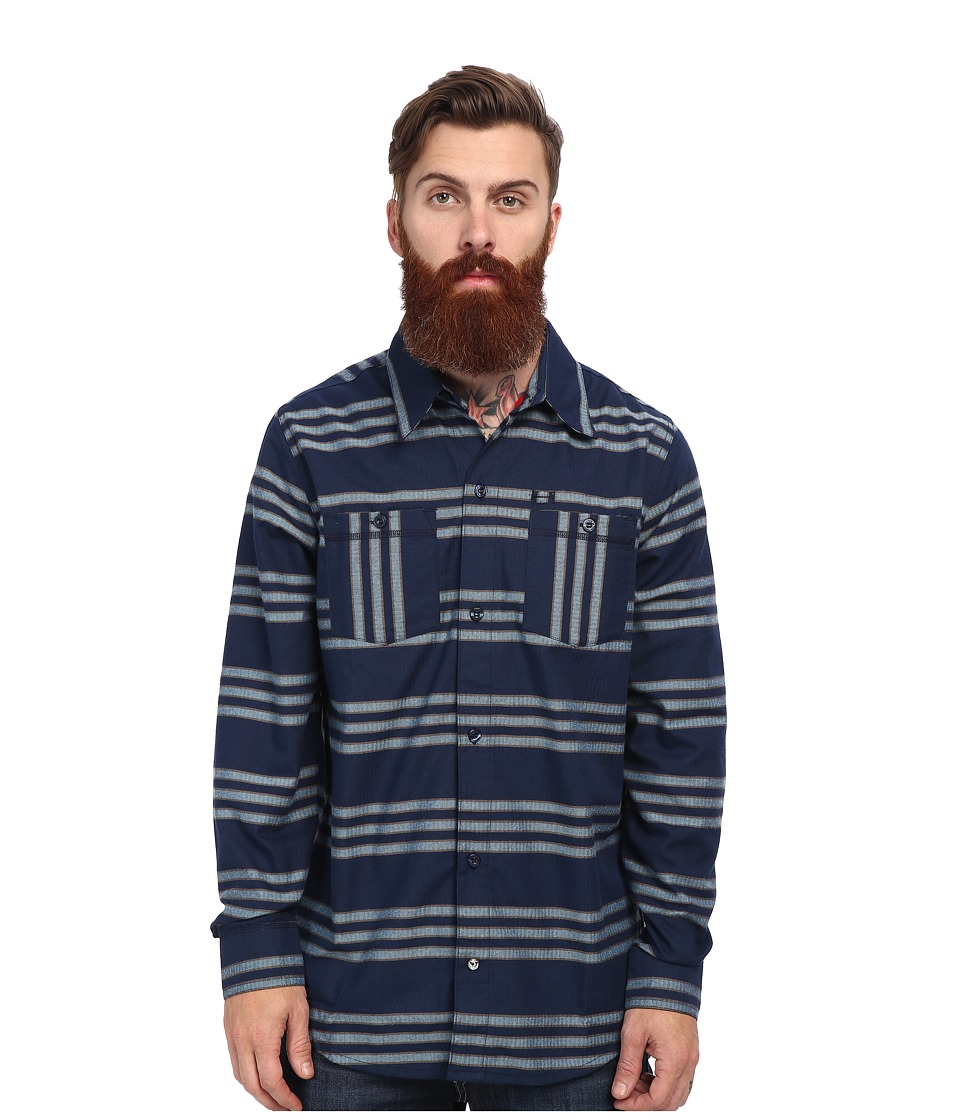 adidas Skateboarding - Silas Striped Flannel (Collegiate Navy/Cardboard/Frost Blue) Men's Long Sleeve Button Up