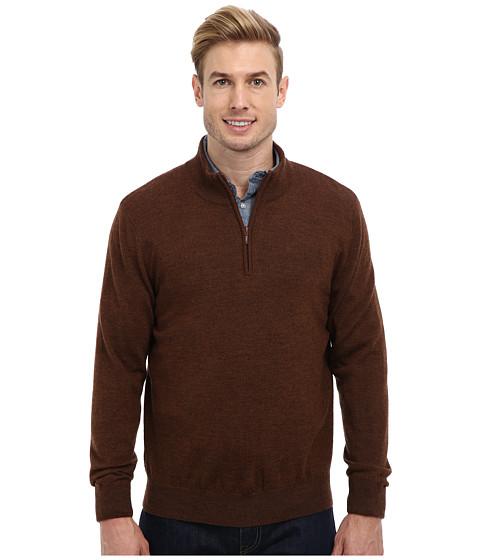Pendleton - L/S Merino 1/4 Zip Sweater (French Roast) Men's Sweater