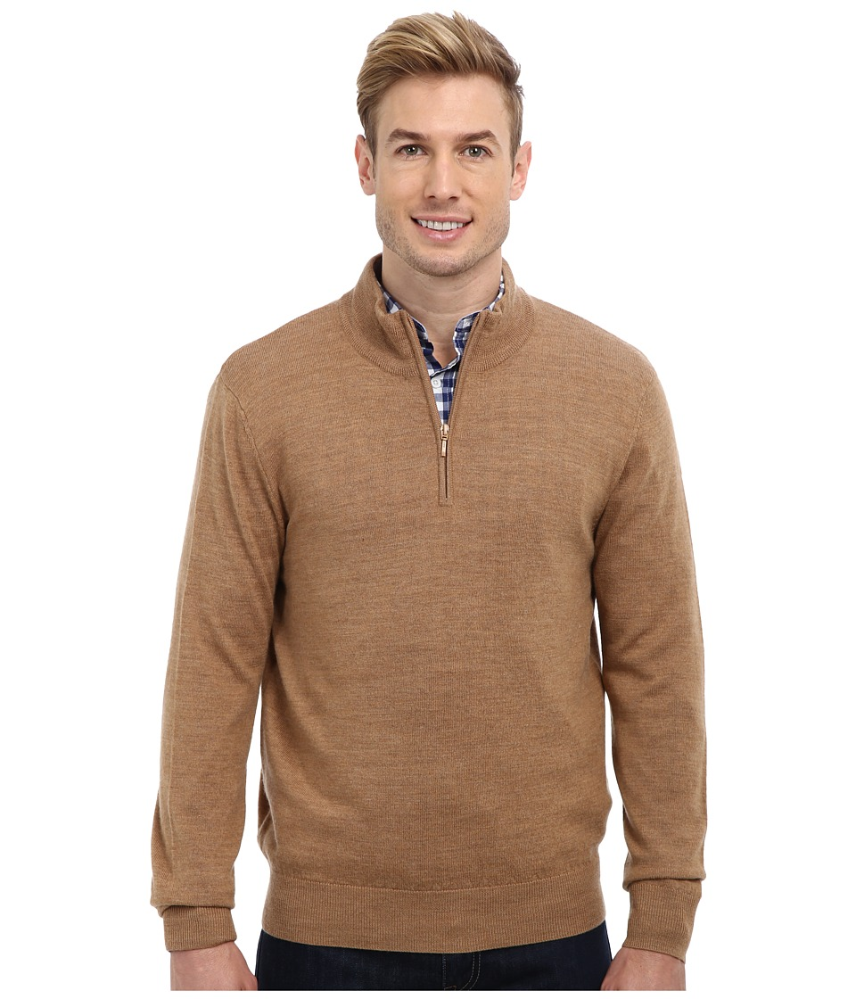 Pendleton - L/S Merino 1/4 Zip Sweater (Caramel) Men