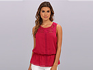 Adrianna Papell Sleeveless Blouse w/ Lace Trim Peplum Detail