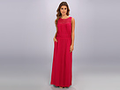 Adrianna Papell Scoop Neck Maxi Dress w/ Embellished Neck Vertical Pleating