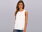 Adrianna Papell Scoop Neck Tank w/ Cotton Voile Embellishment