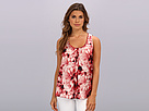 Sleeveless Tank w/ Floral Motif Solid Knit Back