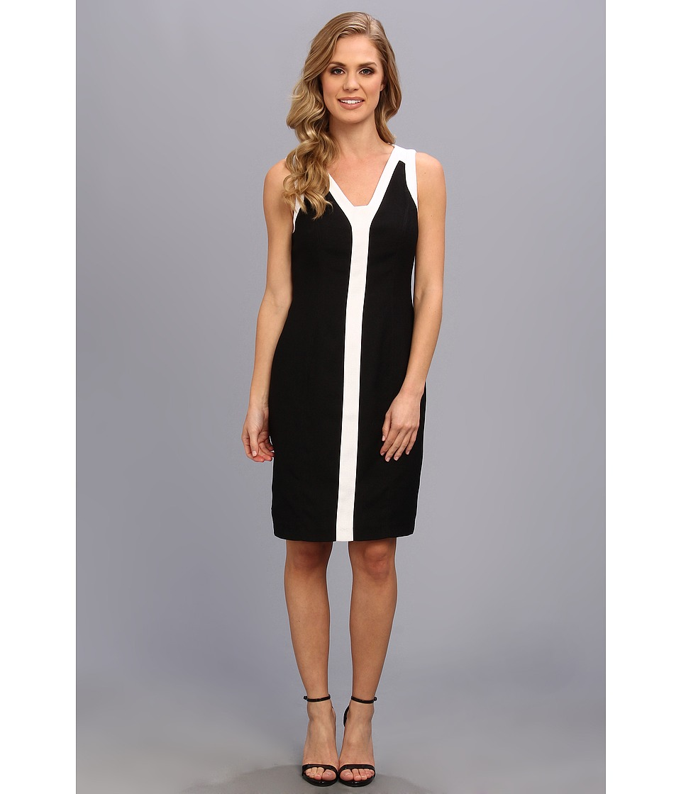 Anne Klein Crepe Color Block Sheath Dress Womens Dress (Black)