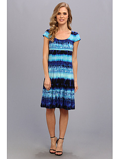 SALE! $51.99 - Save $67 on Anne Klein Cap Sleeve Fit And Dlare Bali Tie Dye Dress (Lapis Multi) Apparel - 56.31% OFF $119.00