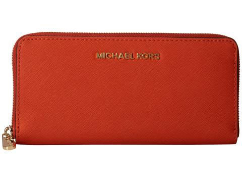 MICHAEL Michael Kors Jet Set Travel ZA Continental (Orange) Wallet Handbags