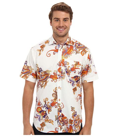 Thomas Dean & Co. - Exploded Paisley Print S/S Button Down Shirt (Orange) Men