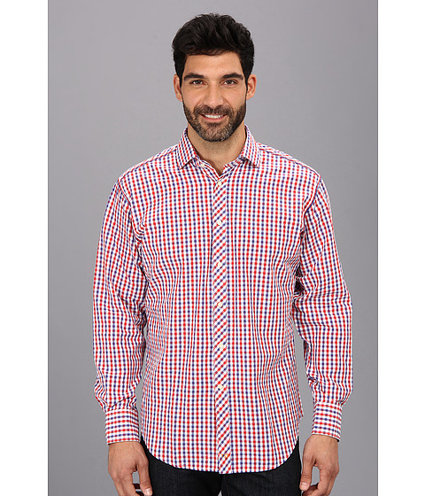 Thomas Dean & Co. - L/S Red Gingham Button Down Sport Shirt (Red) Men's Long Sleeve Button Up