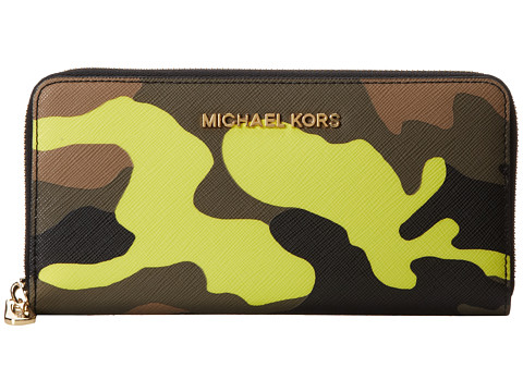MICHAEL Michael Kors Jet Set Travel ZA Continental (Acid Lemon) Wallet Handbags
