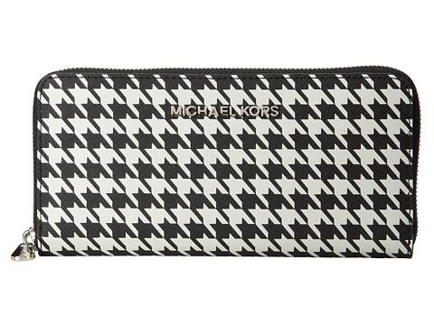 MICHAEL Michael Kors Jet Set Travel ZA Continental (Black/White) Wallet Handbags