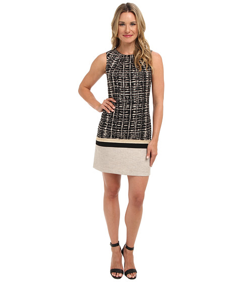 Anne Klein - Sound Byte Print Combo Shift Dress (Black/Natural) Women's Dress