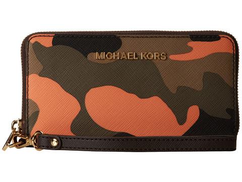 MICHAEL Michael Kors Jet Set Travel Large Mlt Funt Phone Case (Poppy) Clutch Handbags