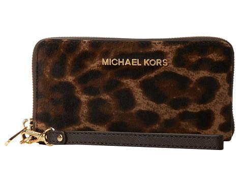 MICHAEL Michael Kors Jet Set Travel Large Mlt Funt Phone Case (Leopard) Clutch Handbags