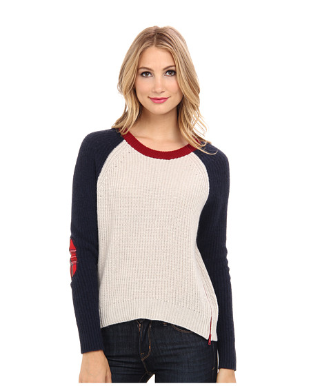 Autumn Cashmere - Shaker Stitch w/ Tar (Ecru/Navy/Caber) Women's Sweater