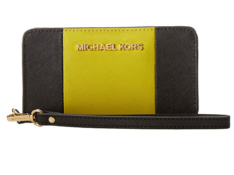 MICHAEL Michael Kors Jet set Travel Center Stripe Slim Tech Wristlet (Black/Apple) Wristlet Handbags