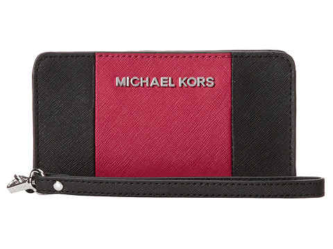 MICHAEL Michael Kors Jet set Travel Center Stripe Slim Tech Wristlet (Black/Deep Pink) Wristlet Handbags