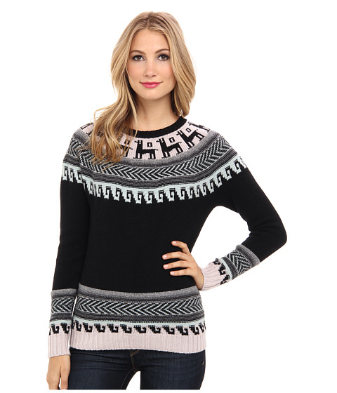 Autumn Cashmere - Folkloric Yoke Intarsi (Black/Pastels C) Women's Sweater