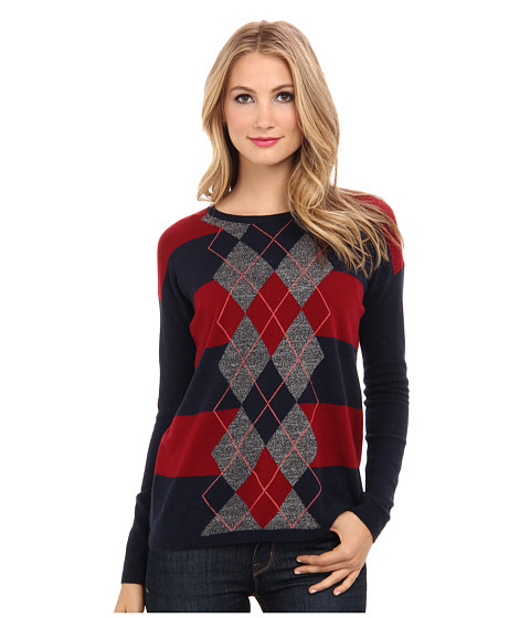 Autumn Cashmere - Rugby Argyle Crew (Navy/Cabernet) Women's Sweater