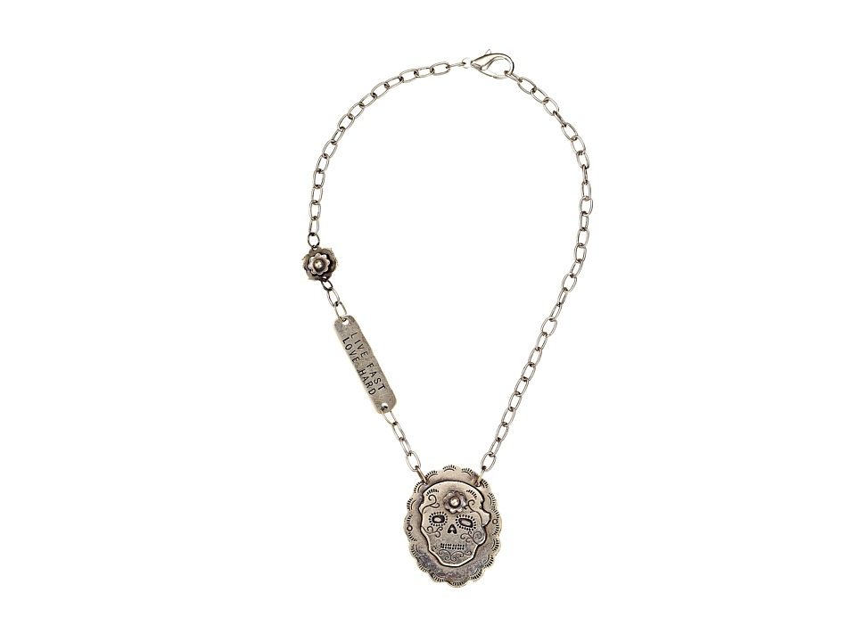 Gypsy SOULE - Live Fast Love Hard Sugar Skull Necklace (Silver) Necklace