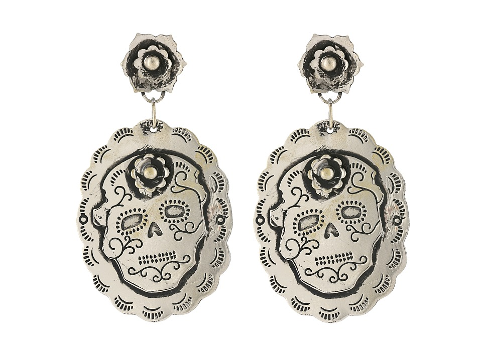 Gypsy SOULE - Sugar Skull Earrings (Silver) Earring
