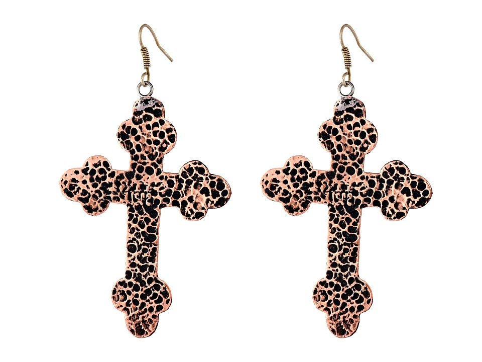 Gypsy SOULE - Antiqued Cross Drop Earrings (Copper) Earring