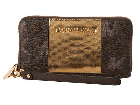MICHAEL Michael Kors Jet Set Travel Contrast Stripe Large Mlt Funt Phone Case (Brown/Gold/Coffee) Clutch Handbags