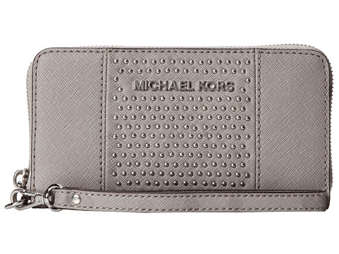 MICHAEL Michael Kors Microstud Jet Set Center Stripe Large Coin Mlt Funt Phone Case (Pearl Grey) Cell Phone Case