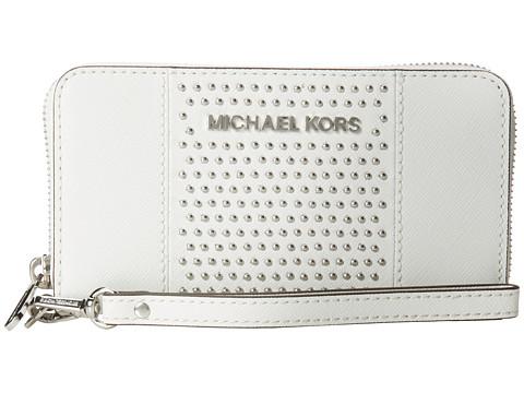 MICHAEL Michael Kors Microstud Jet Set Center Stripe Large Coin Mlt Funt Phone Case (Optic White) Cell Phone Case