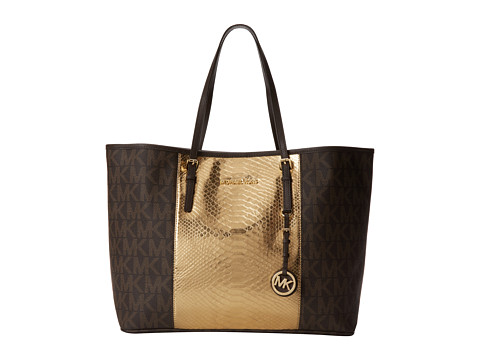 MICHAEL Michael Kors Jet Set Travel Cntr Stripe Medium Travel Tote (Brown/Gold/Coff) Tote Handbags