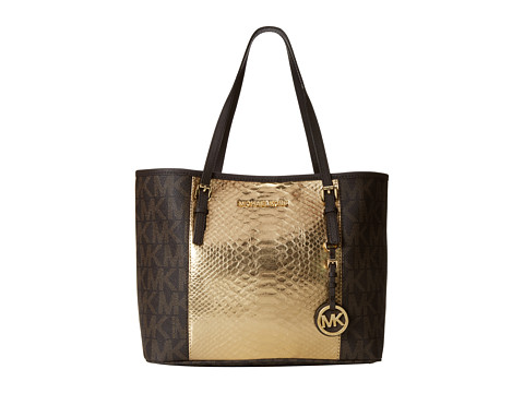 MICHAEL Michael Kors Jet Set Travel Cntr Stripe Small Travel Tote (Brown/Gold/Coff) Tote Handbags