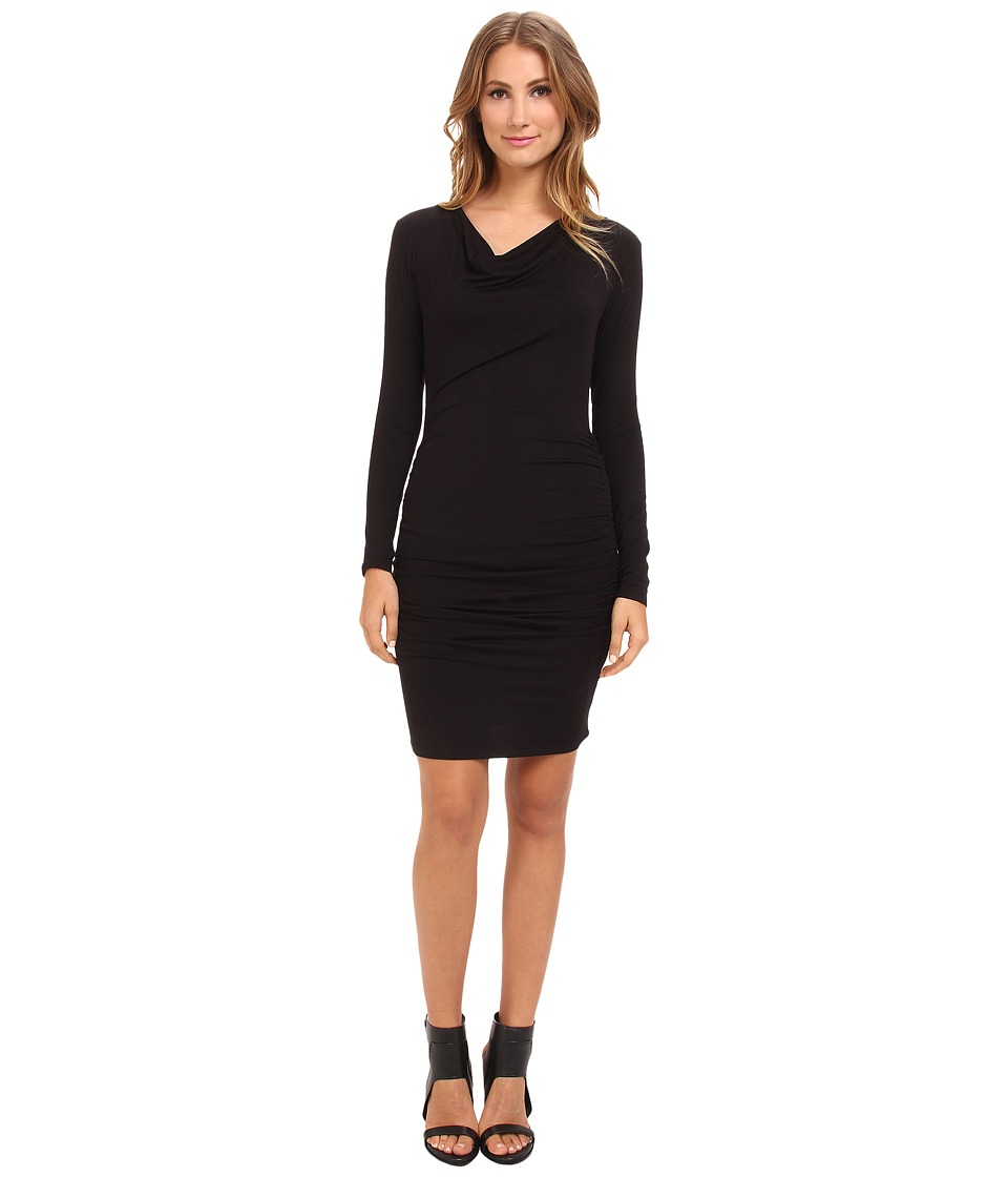 Michael Stars - Exclusive L/S Drape Neck Dress w/ Shirring (Black) Women's Dress