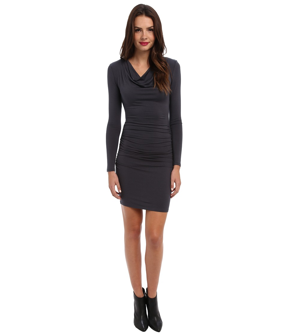 Michael Stars - Exclusive L/S Drape Neck Dress w/ Shirring (Oxide) Women's Dress