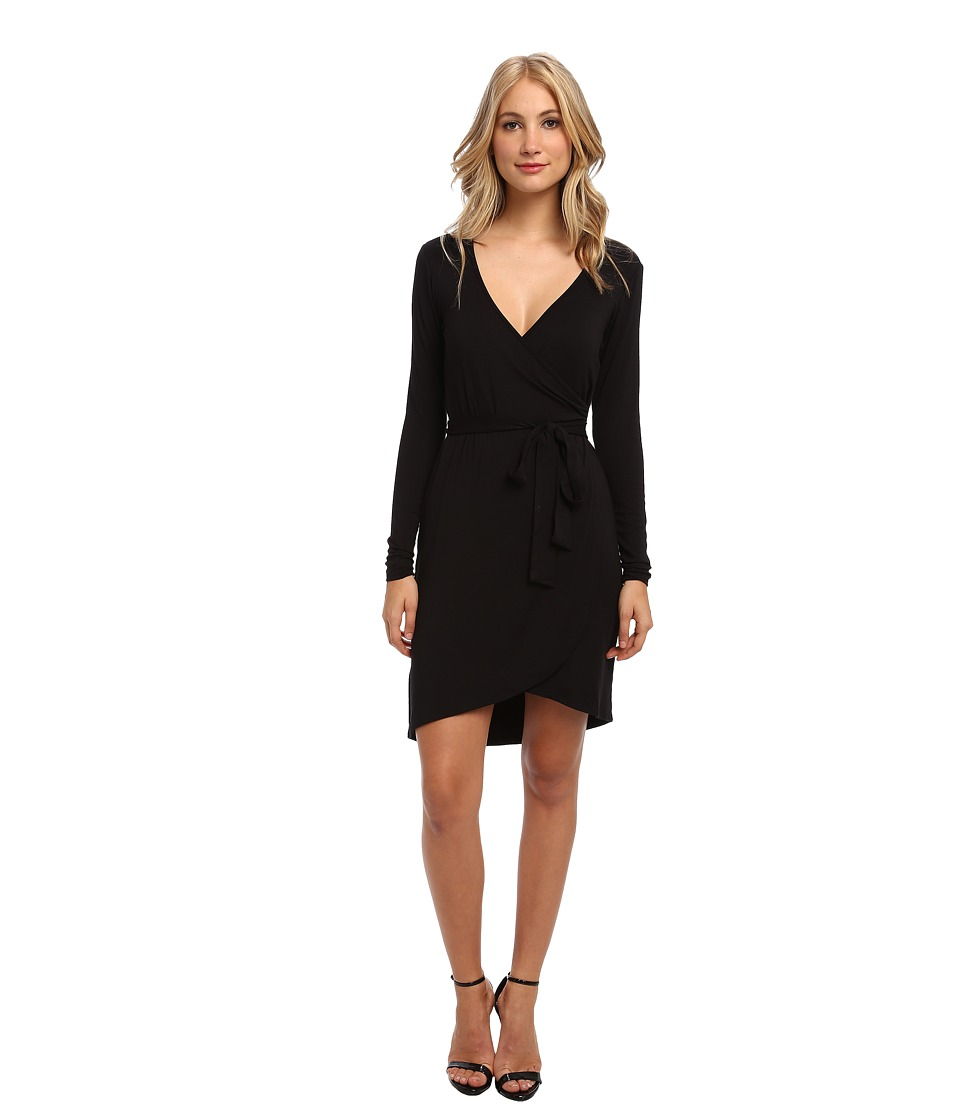 Michael Stars - L/S Wrap Dress w/ Belted Waist (Black) Women