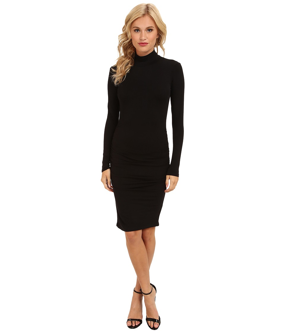 Michael Stars Exclusive L/S Turleneck Dress w/ Shirring (Black) Women