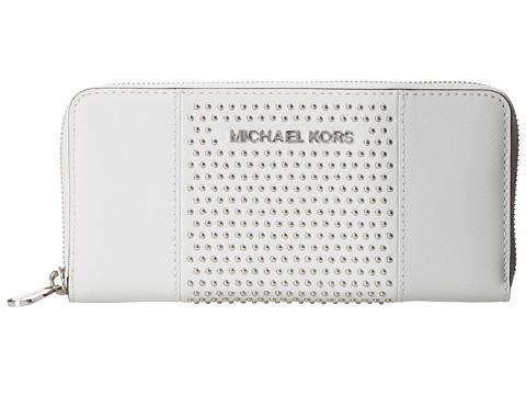 MICHAEL Michael Kors Microstud Jet Set Center Stripe ZA Continental (Optic White) Clutch Handbags